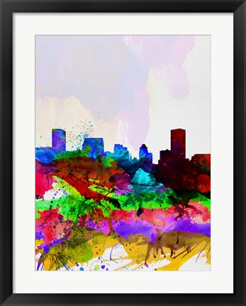 Framed Baltimore Watercolor Skyline Print