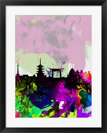 Framed Kyoto Watercolor Skyline Print