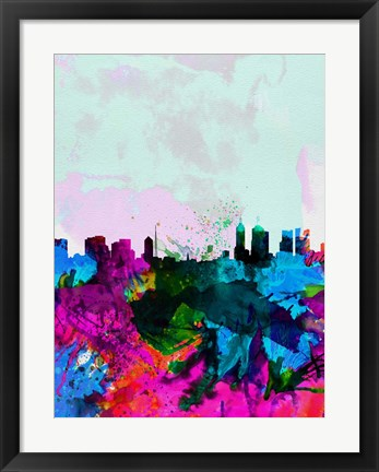 Framed Melbourne Watercolor Skyline Print