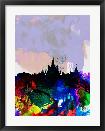 Framed Moscow Watercolor Skyline Print