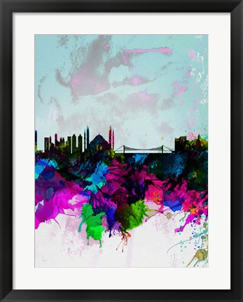 Framed Istanbul Watercolor Skyline Print