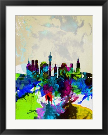 Framed Munich Watercolor Skyline Print