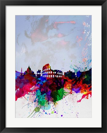 Framed Rome Watercolor Skyline Print