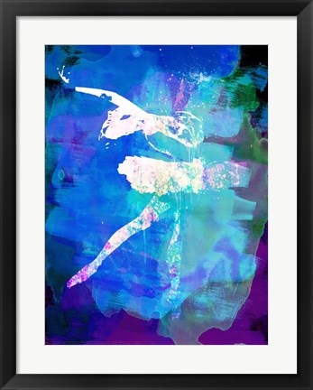 Framed White Ballerina Watercolor Print