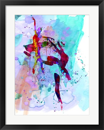 Framed Two Ballerinas Watercolor 1 Print