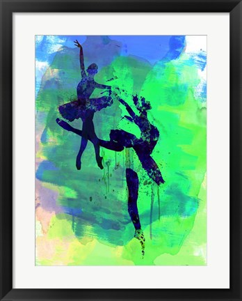 Framed Two Ballerinas Watercolor 2 Print