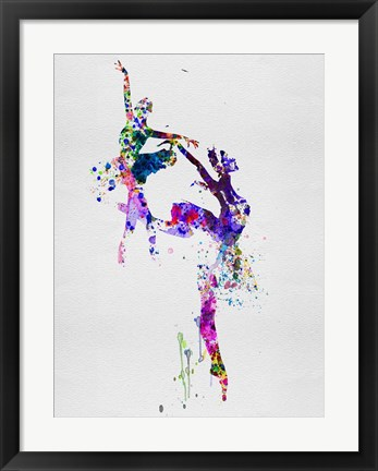 Framed Two Ballerinas Dance Watercolor Print