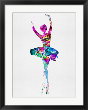 Framed Ballerina Watercolor 1 Print