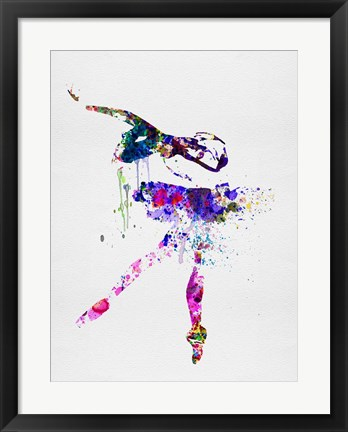 Framed Ballerina Watercolor 2 Print