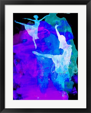 Framed Two Ballerinas Watercolor 3 Print