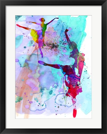 Framed Two Ballerinas Watercolor 4 Print