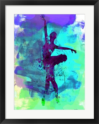 Framed Ballerina Watercolor 4B Print