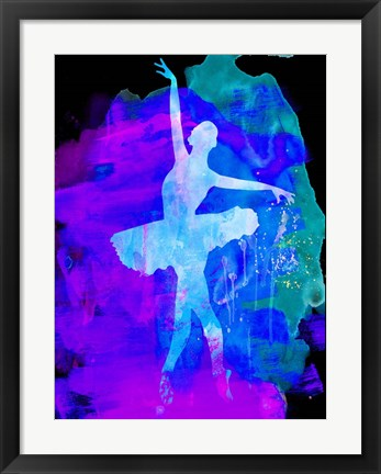 Framed White Ballerina Watercolor 1 Print