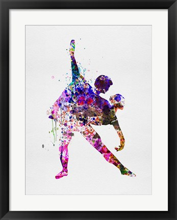 Framed Romantic Ballet Watercolor 4 Print