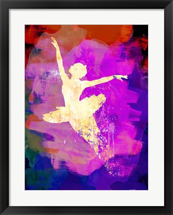 Framed Flying Ballerina Watercolor 2 Print