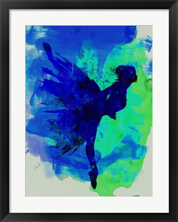 Framed Ballerina on Stage Watercolor 2 Print