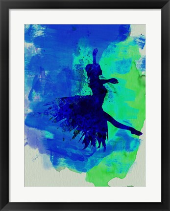 Framed Ballerina on Stage Watercolor 5 Print