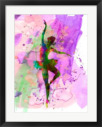 Framed Ballerina Dancing Watercolor 1 Print
