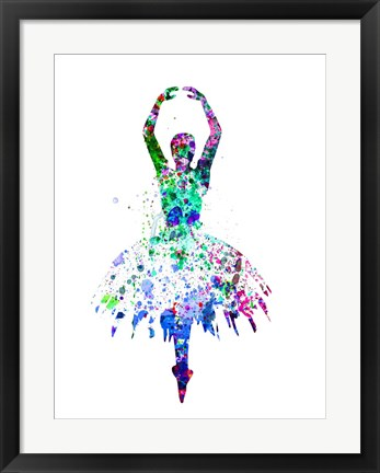 Framed Ballerina Dancing Watercolor 4 Print