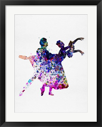 Framed Ballet Dancers Watercolor 1 Print