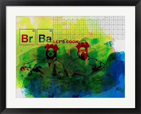 Framed Br Ba Watercolor 1 Print