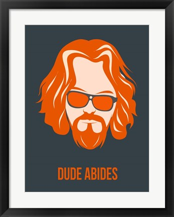 Framed Dude Abides Orange Print