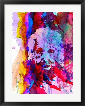 Framed Einstein Watercolor Print
