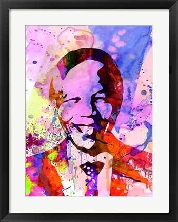 Framed Nelson Mandela Watercolor Print