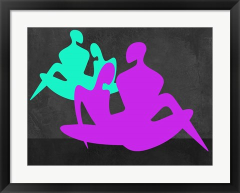 Framed Purple and Blue Couples Print
