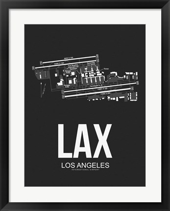 Framed LAX Los Angeles Airport Black Print