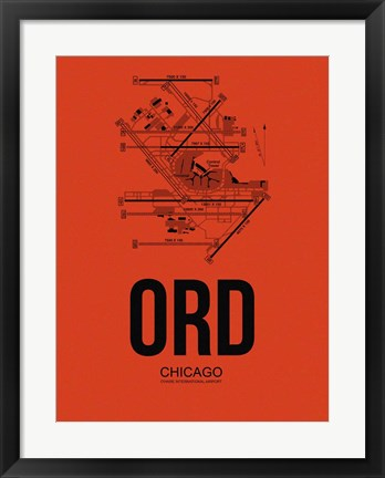 Framed ORD Chicago Airport Orange Print