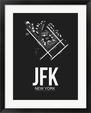 Framed JFK New York Airport Black Print