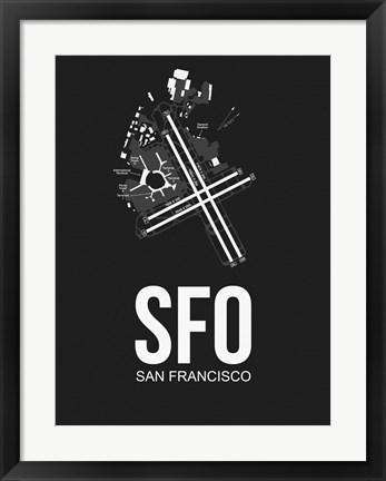 Framed SFO San Francisco Airport Black Print