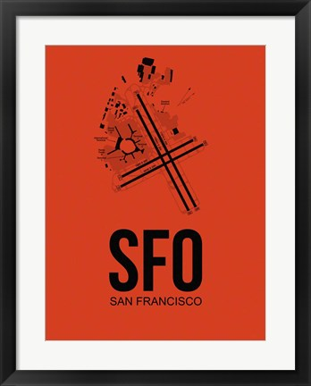 Framed SFO San Francisco Airport Orange Print