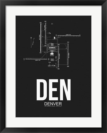 Framed DEN Denver Airport Black Print