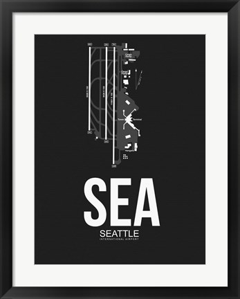 Framed SEA Seattle Airport Black Print