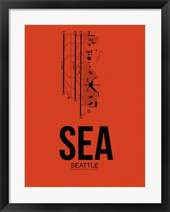 Framed SEA Seattle Airport Orange Print
