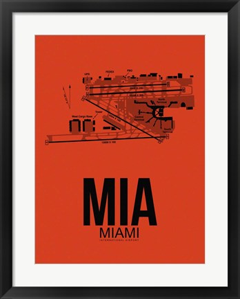 Framed MIA Miami Airport Orange Print