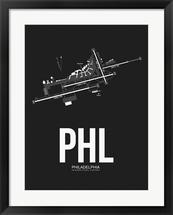 Framed PHL Philadelphia Airport Black Print