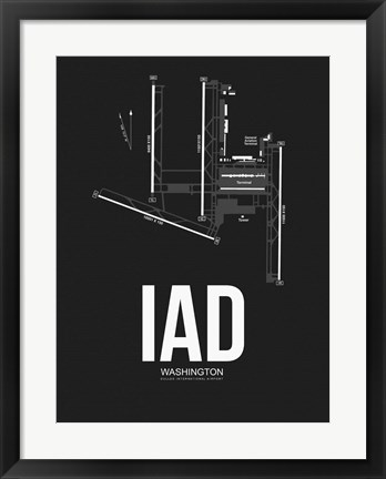 Framed IAD Washington Airport Black Print