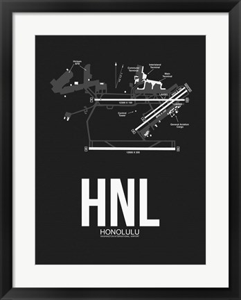 Framed HNL Honolulu Airport Black Print