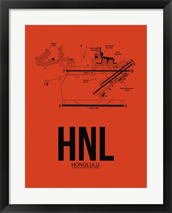 Framed HNL Honolulu Airport Orange Print