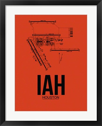 Framed IAH Houston Airport Orange Print
