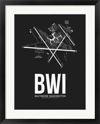 Framed BWI Baltimore Airport Black Print