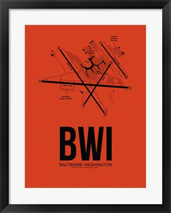 Framed BWI Baltimore Airport Orange Print