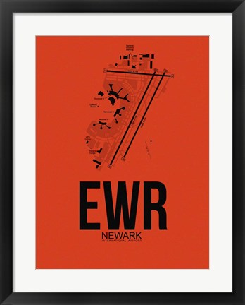 Framed EWR Newark Airport Orange Print
