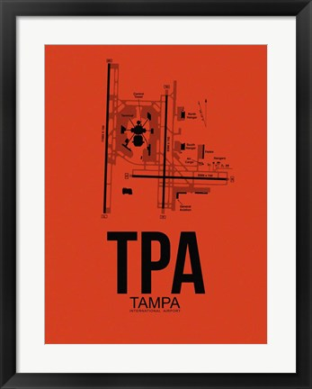 Framed TPA Tampa Airport Orange Print