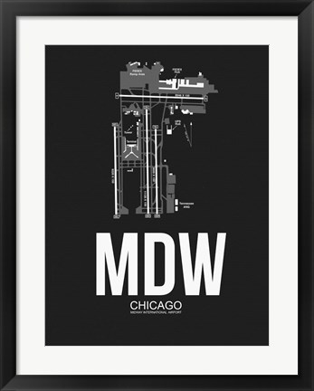 Framed MDW Chicago Airport Black Print