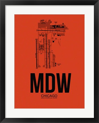 Framed MDW Chicago Airport Orange Print