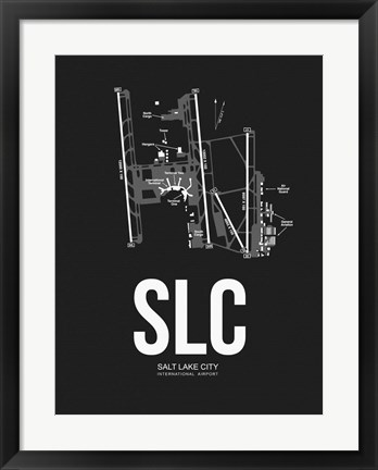 Framed Salt Lake City Airport Black Print